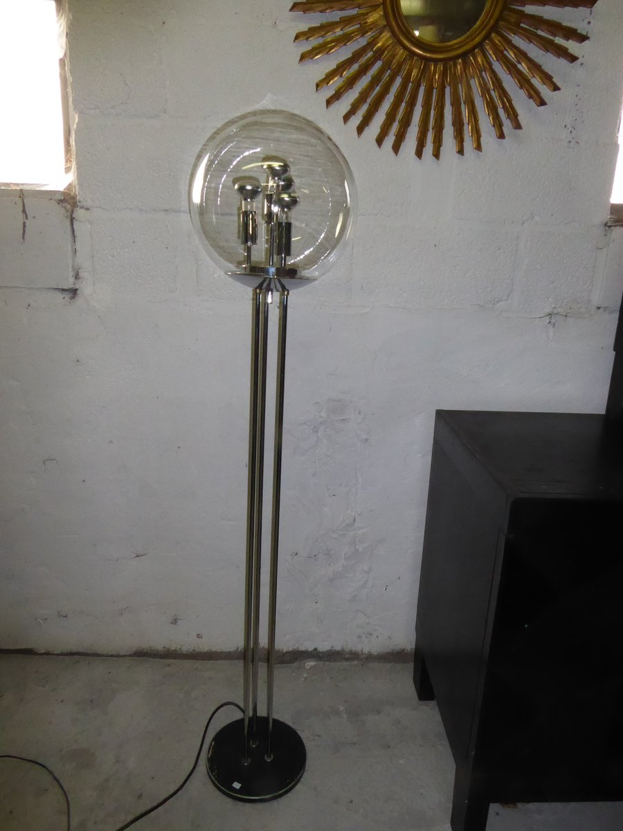 Glass chrome globe floor lamp for sale at pamono glass chrome globe floor lamp aloadofball Images