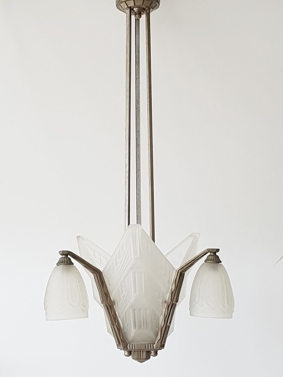 Pressed glass nickeled steel chandelier from des hanots 1920s for pressed glass nickeled steel chandelier from des hanots 1920s for sale at pamono arubaitofo Gallery