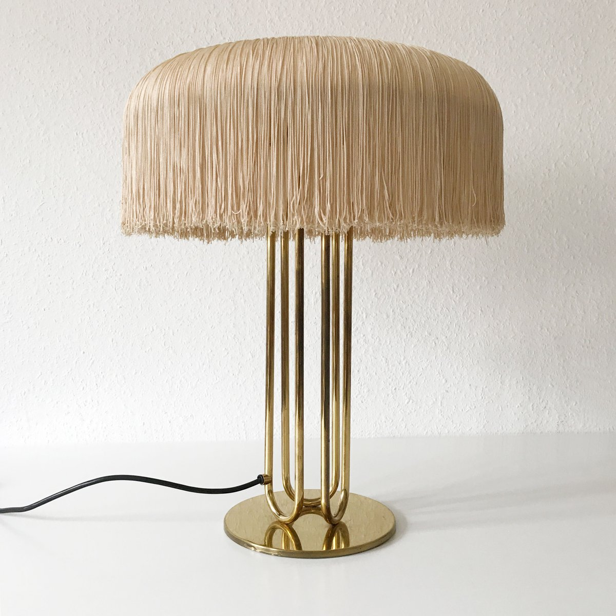 Large Mid Century Brass Table Lamps, Set Of 2