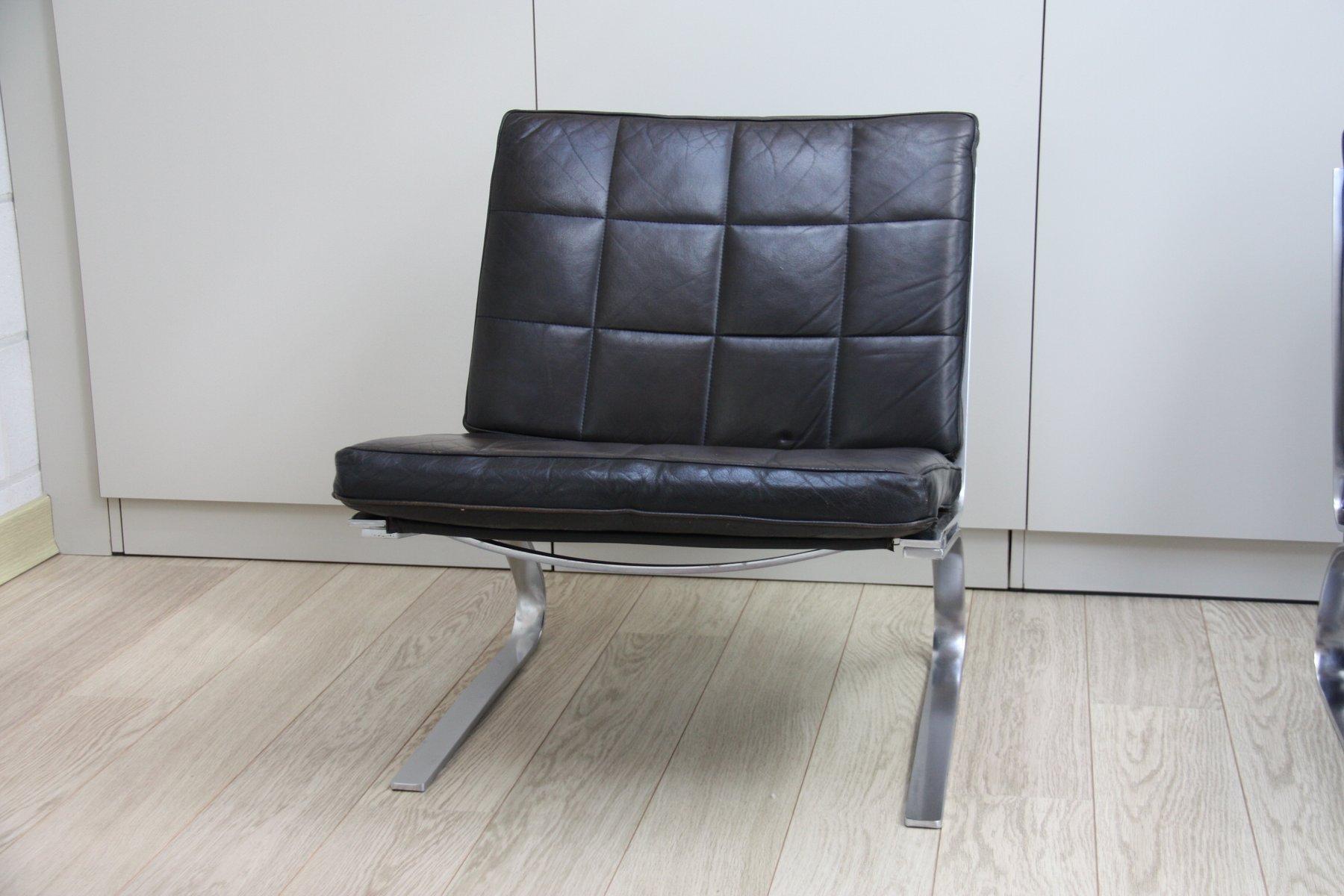 schwarze vintage leder swing st hle von hans eichenberger. Black Bedroom Furniture Sets. Home Design Ideas
