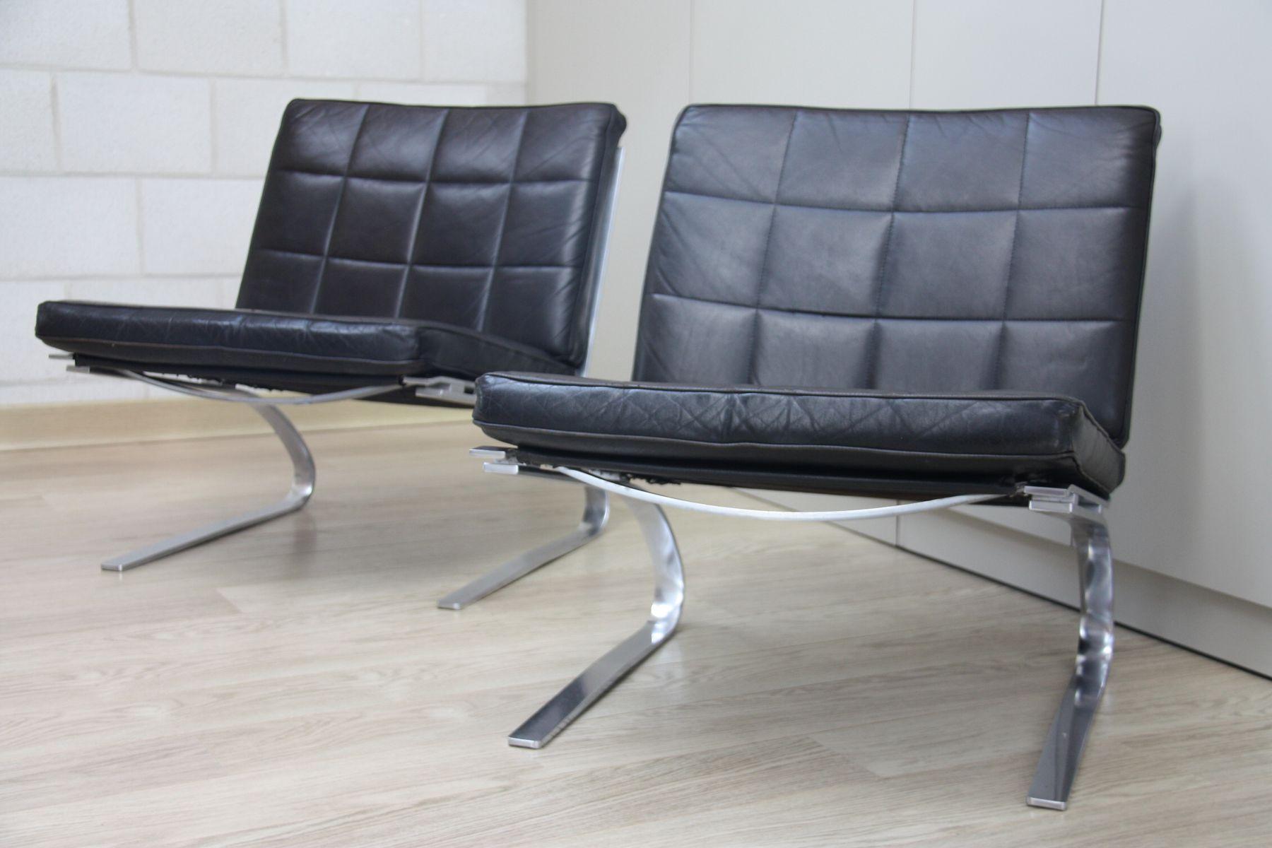 schwarze vintage leder swing st hle von hans eichenberger f r girsberger 2er set bei pamono kaufen. Black Bedroom Furniture Sets. Home Design Ideas
