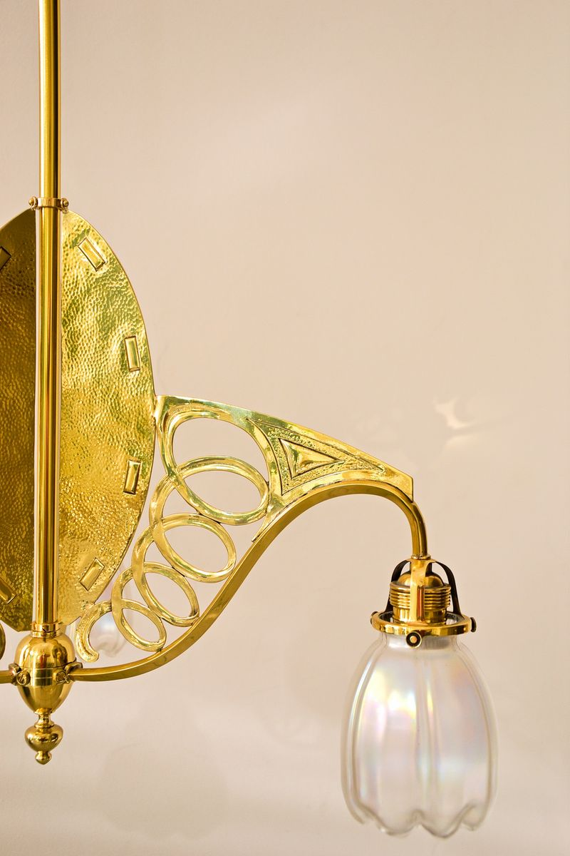 Art Nouveau Three-Light Ceiling Lamp for sale at Pamono