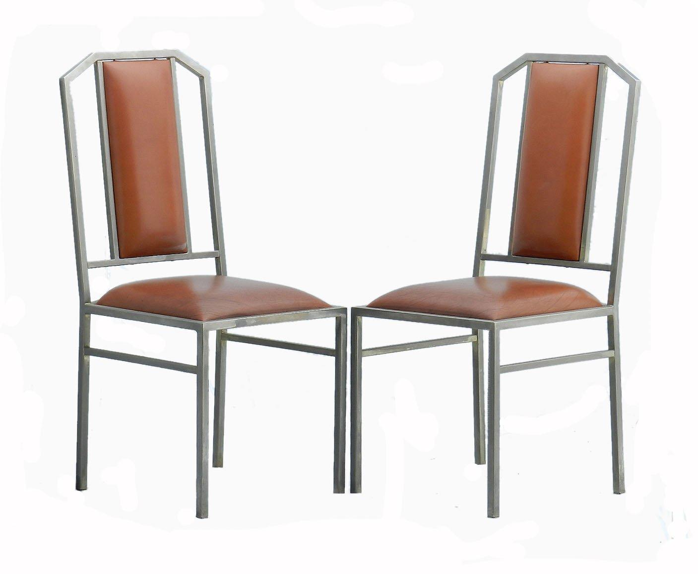 Sedie da pranzo vintage in metallo e pelle di Maison Jansen, set di ...