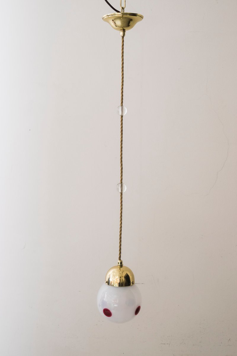 Viennese Hanging Lamp With Loetz Lamp Shade By Koloman Moser For Bakalowits  U0026 Söhne, 1900s