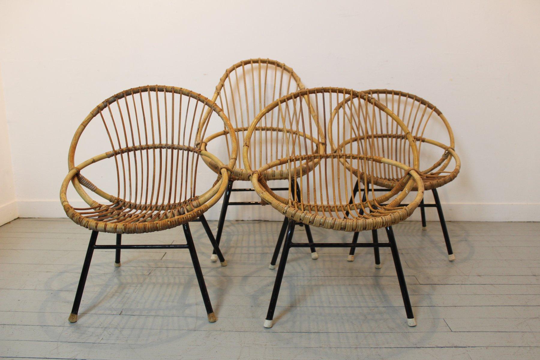 franz sische vintage bambus rattan st hle 4er set bei pamono kaufen. Black Bedroom Furniture Sets. Home Design Ideas