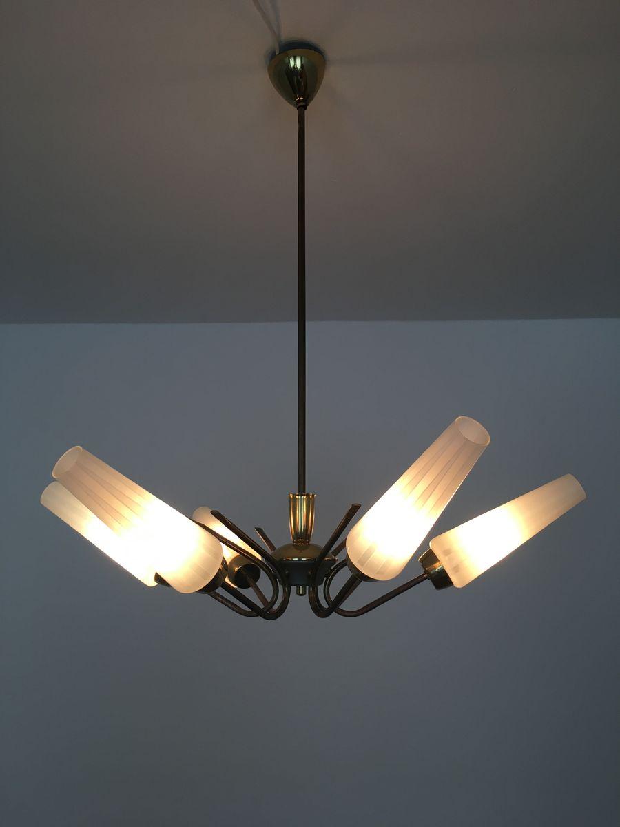 messing lampe mit ge tzten glasleuchten 1950er bei pamono kaufen. Black Bedroom Furniture Sets. Home Design Ideas