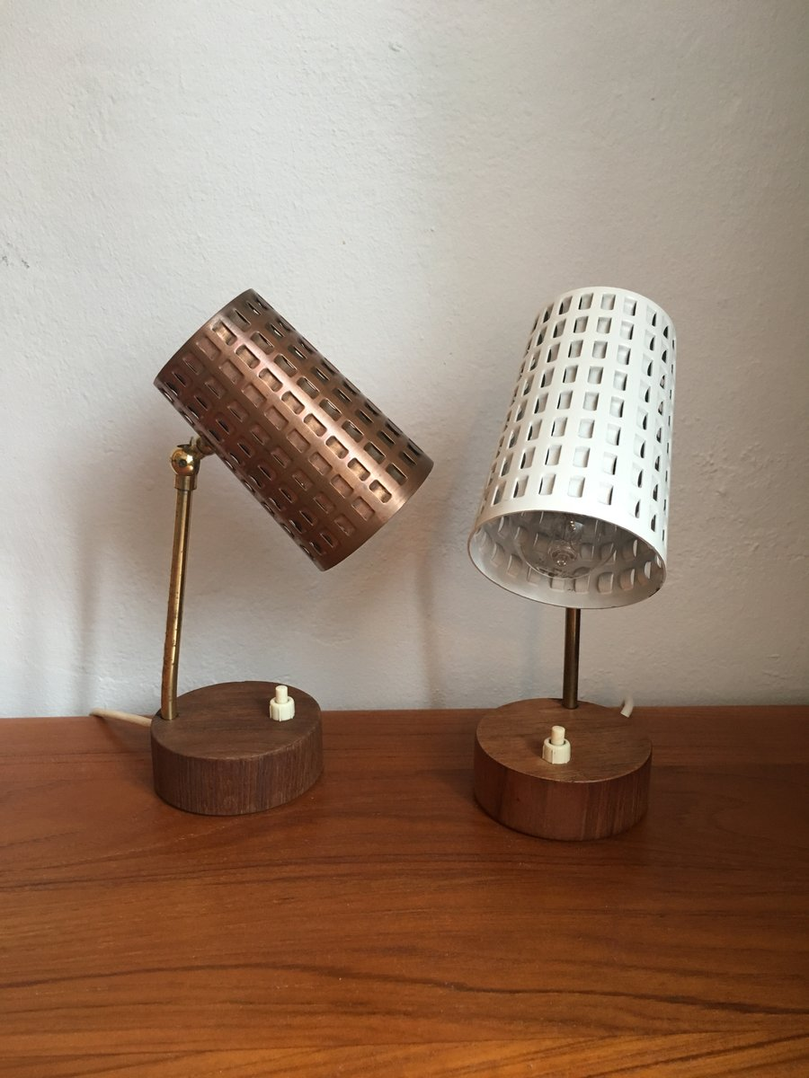 Small table lamps with perforated lampshade and teak foot 1950s small table lamps with perforated lampshade and teak foot 1950s set of 2 aloadofball Image collections