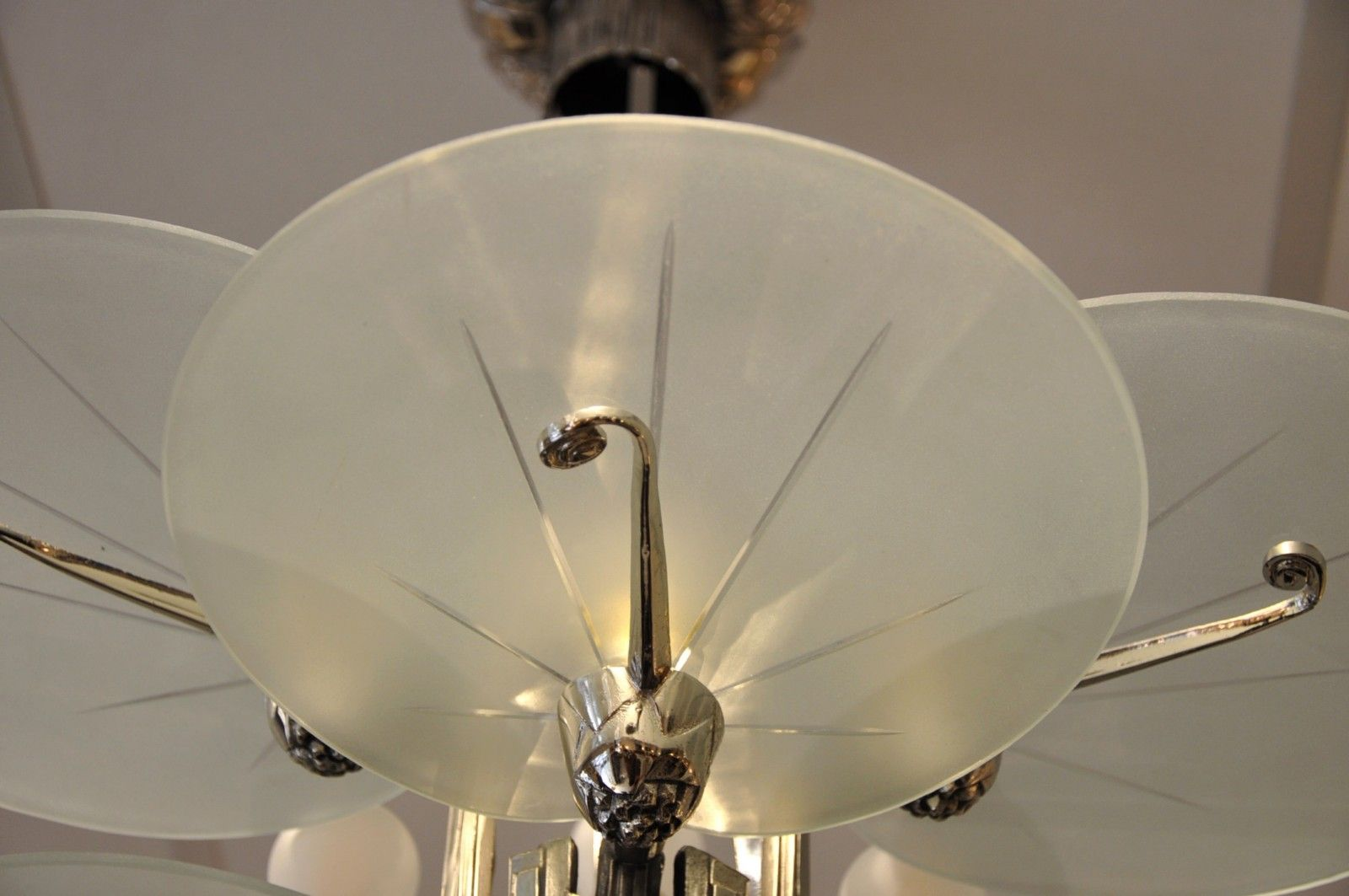Art deco silver plated bronze chandelier with 6 plates 1930s for price per piece arubaitofo Images
