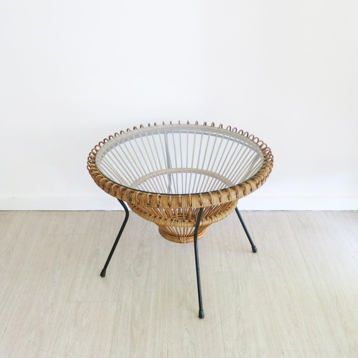 rattan couchtisch von franco albini 1950er bei pamono kaufen. Black Bedroom Furniture Sets. Home Design Ideas