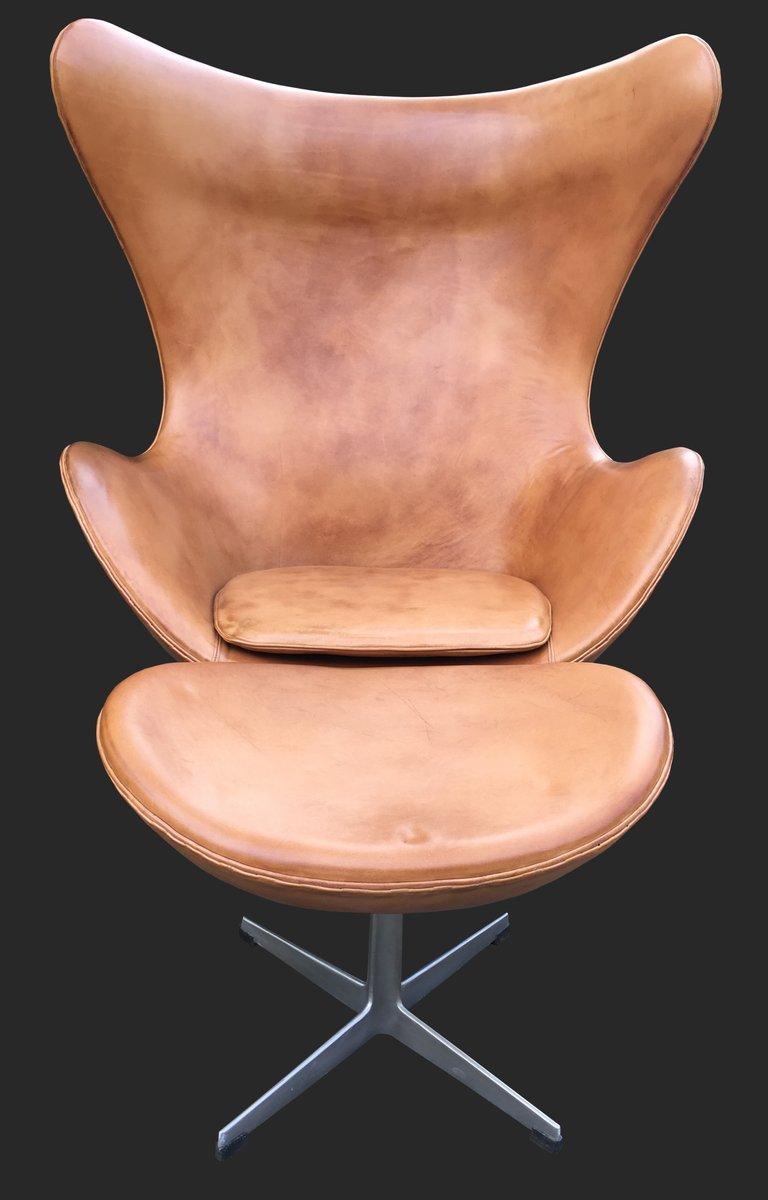 Leder Egg Chair U0026 Ottomane Von Arne Jacobsen Fr Fritz Hansen 1960er Bei  Pamono Kaufen