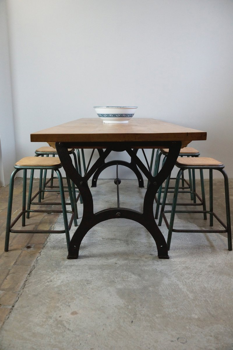 Vintage Industrial Dining Room Table. Vintage Industrial Dining Table for sale at Pamono