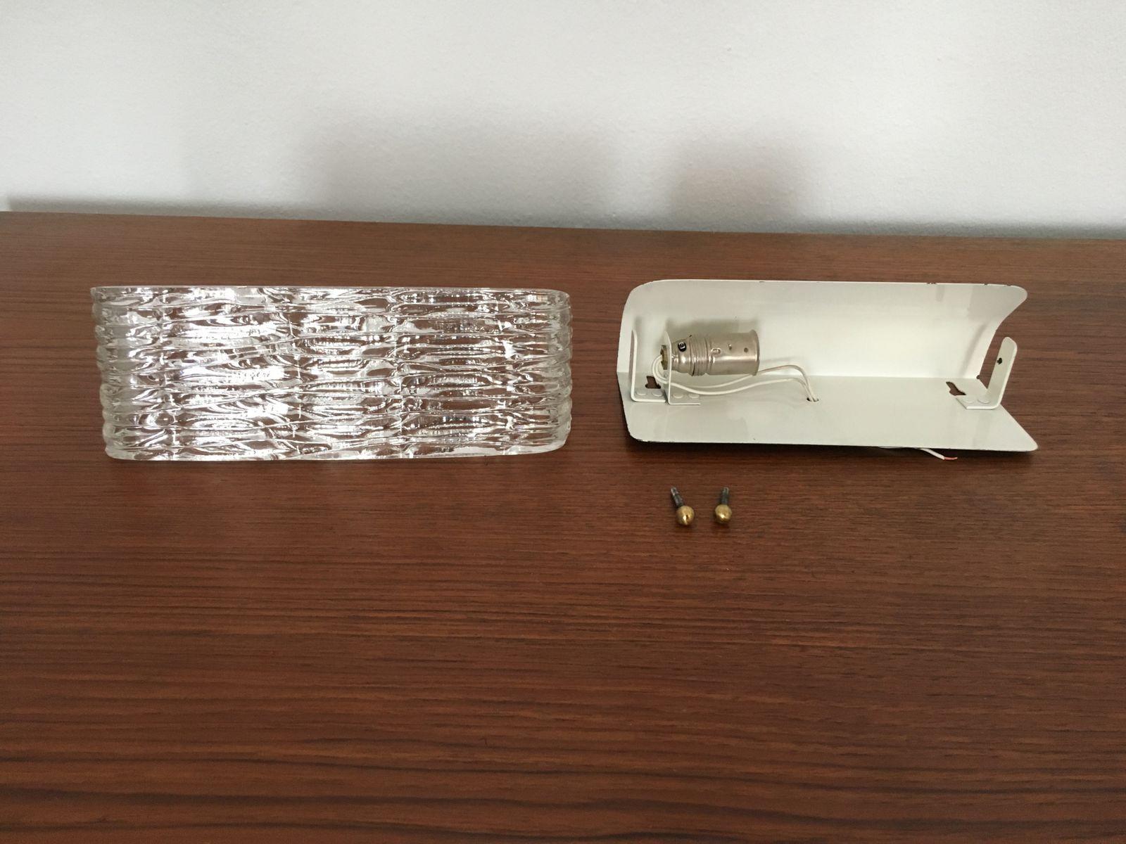 wandlampe aus glas messing 1950er bei pamono kaufen. Black Bedroom Furniture Sets. Home Design Ideas
