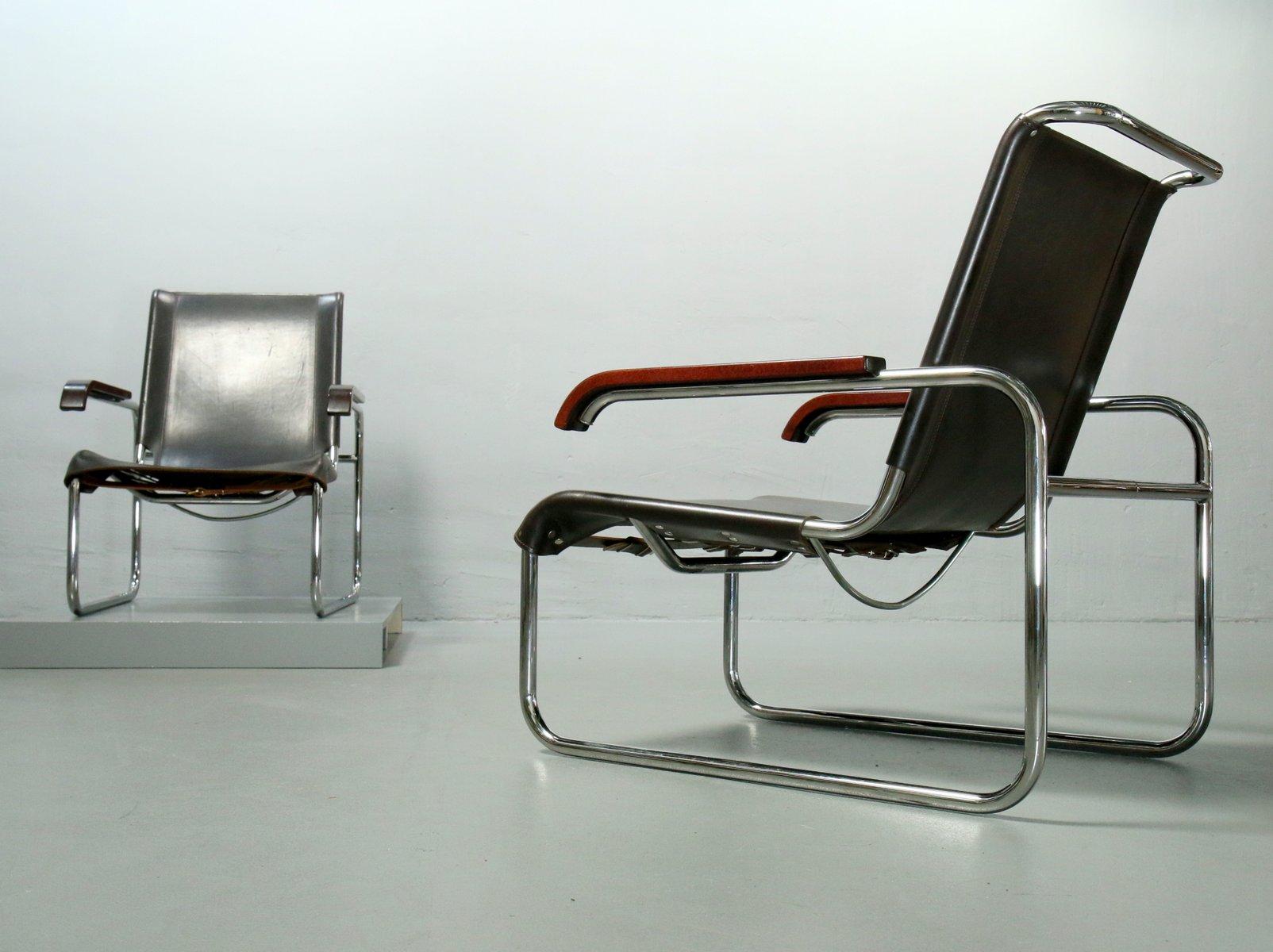 s 35 klubsessel aus stahlrohr braunem leder von marcel breuer f r thonet 1970er bei pamono kaufen. Black Bedroom Furniture Sets. Home Design Ideas