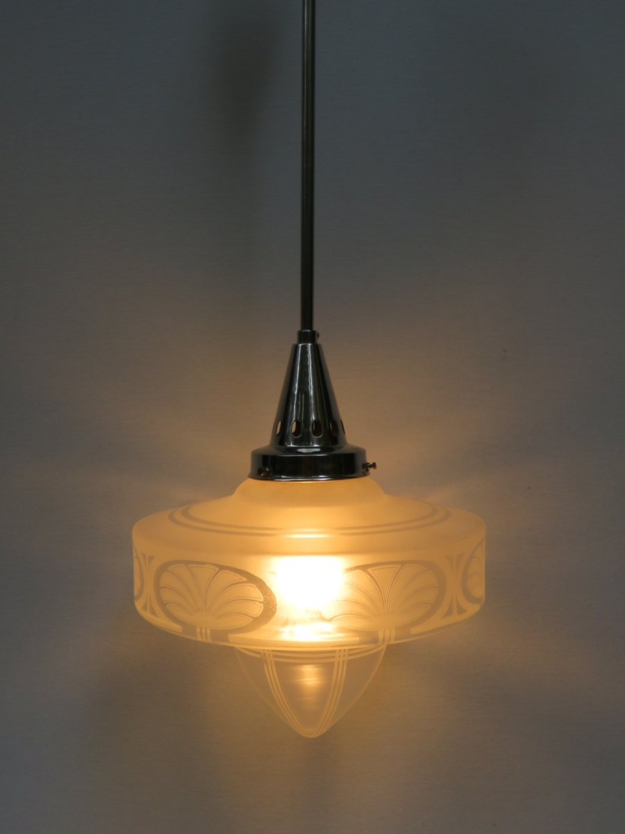 Vintage Art Deco Frosted Glass Ceiling Light For Sale At