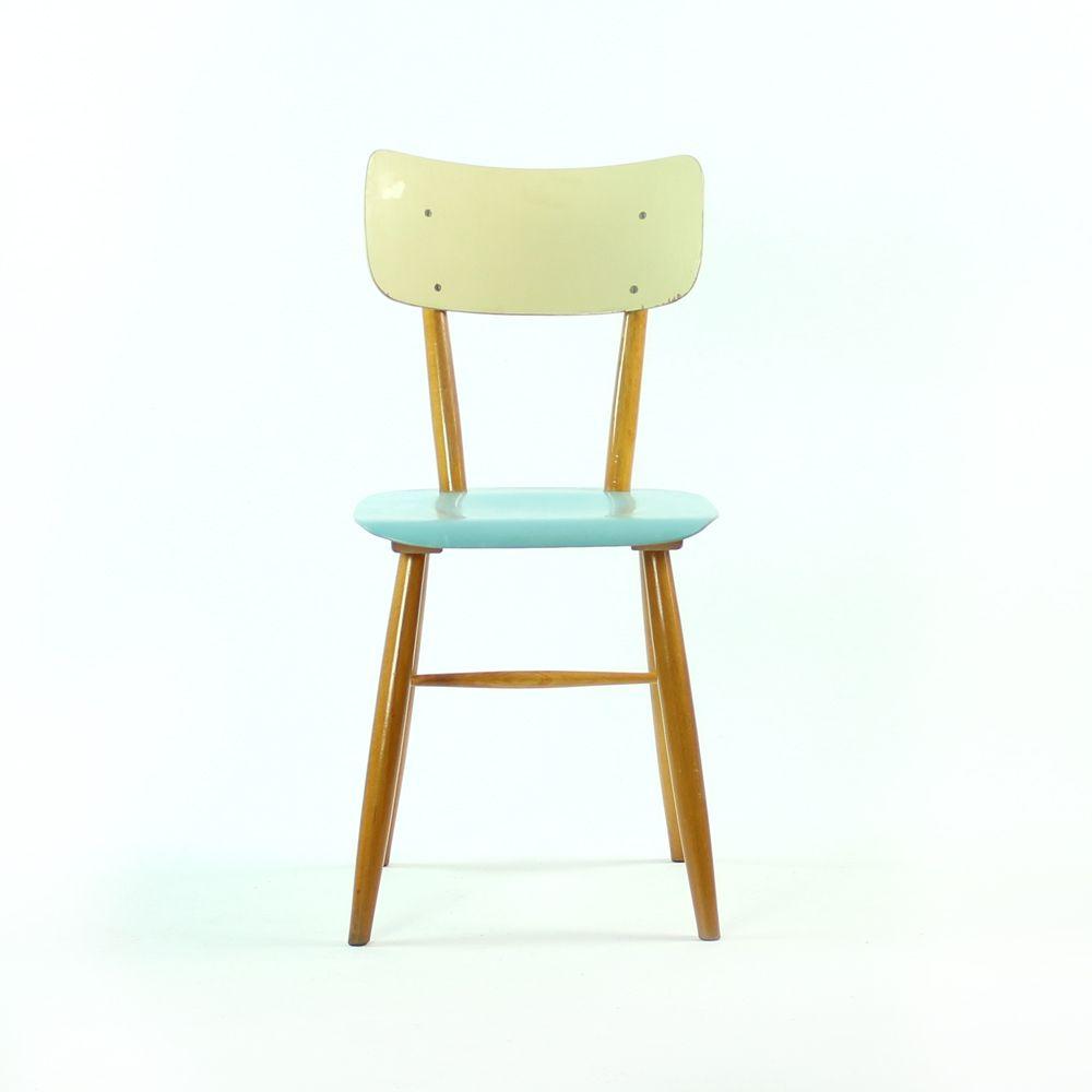 vintage st hle mit blauen sitzen von ton 1960er 2er set. Black Bedroom Furniture Sets. Home Design Ideas
