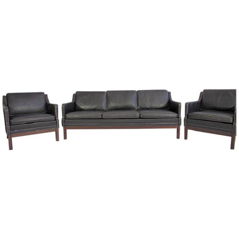 schwarze vintage b ffelleder sessel sofa 3er set bei. Black Bedroom Furniture Sets. Home Design Ideas