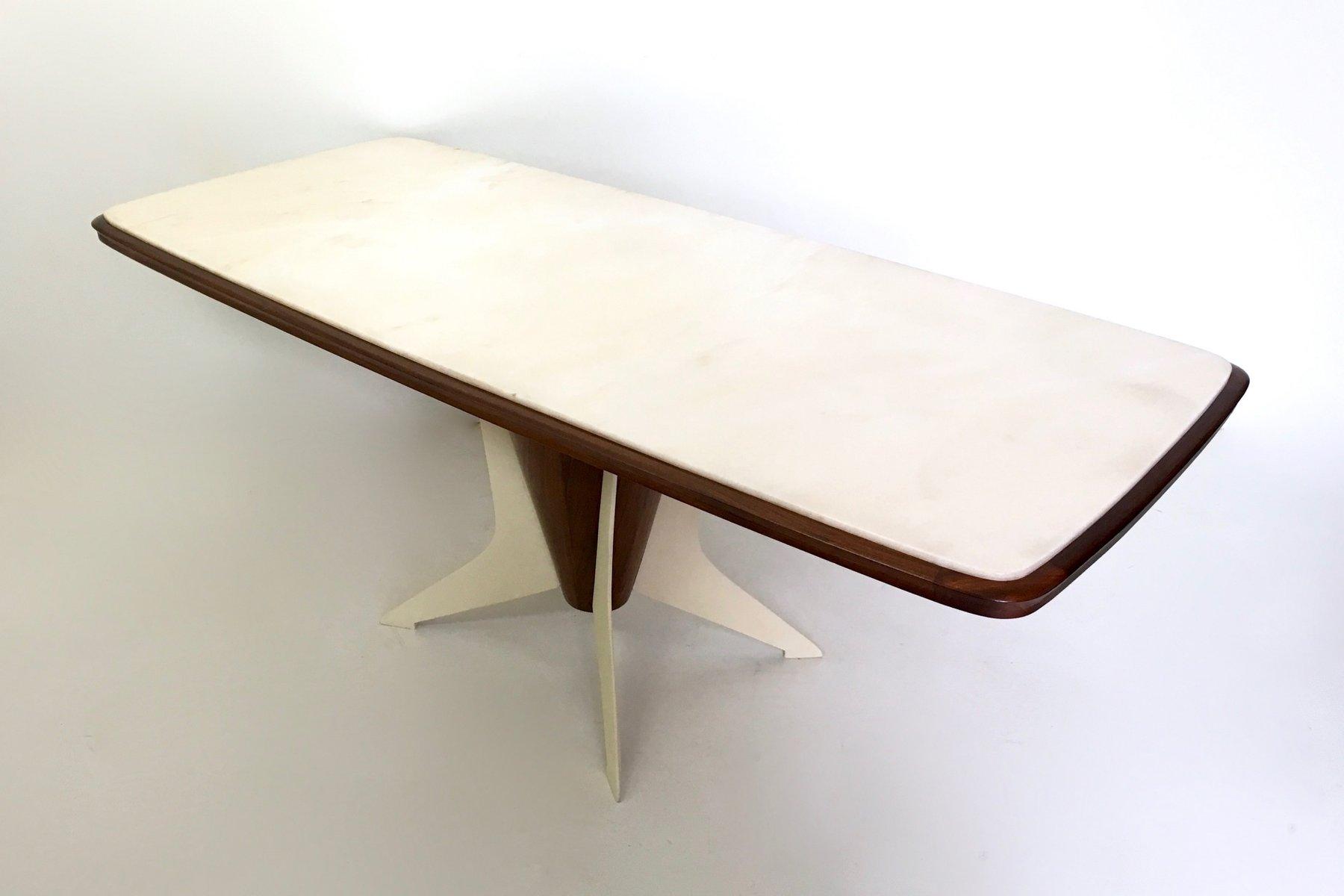 italienischer holz esstisch mit carrara marmorplatte 1950er bei pamono kaufen. Black Bedroom Furniture Sets. Home Design Ideas