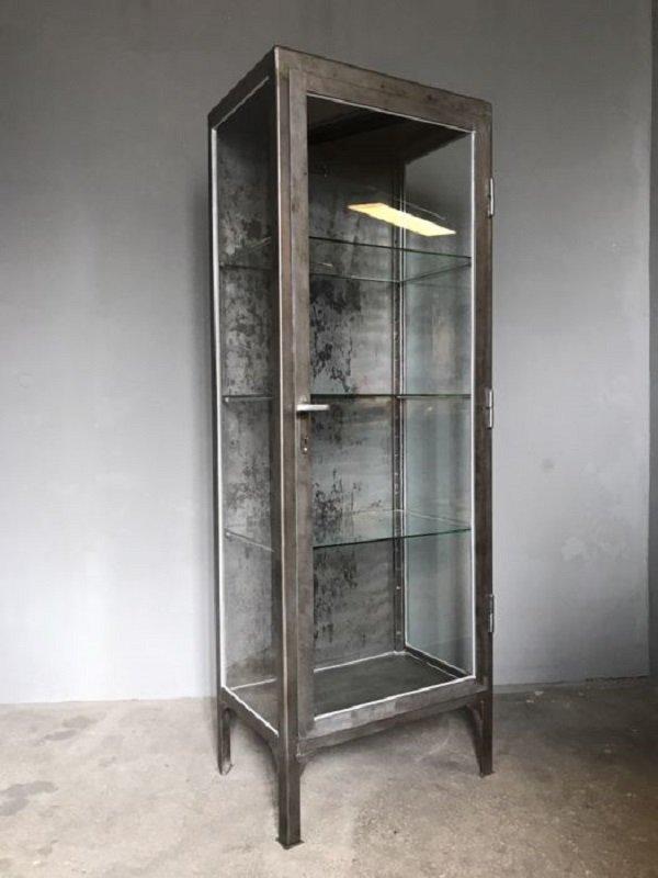 Beautiful Polish Polished Metal Medical Cabinet, 1950s