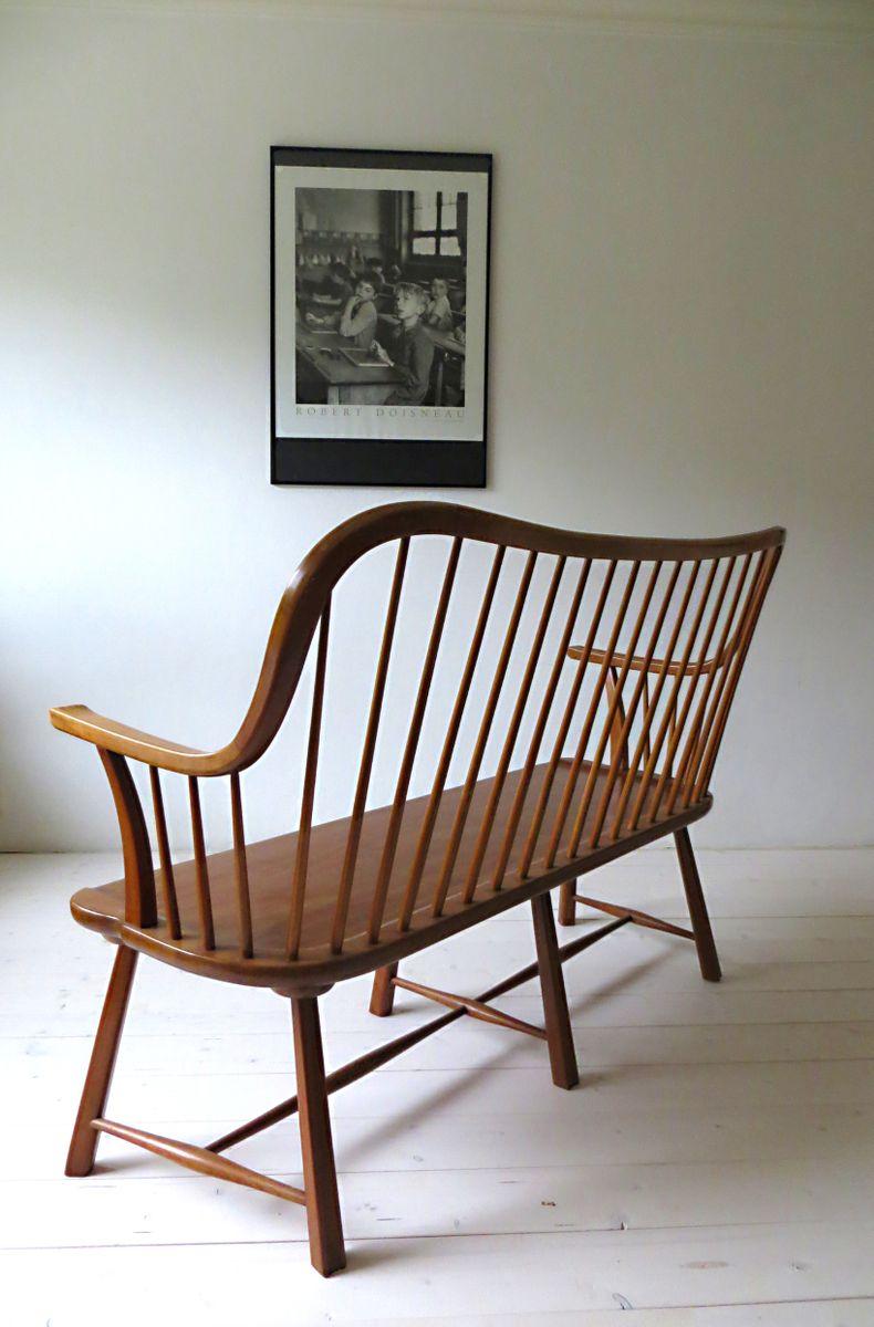 skandinavische sitzbank mit geschwungener r ckenlehne 1950er bei pamono kaufen. Black Bedroom Furniture Sets. Home Design Ideas