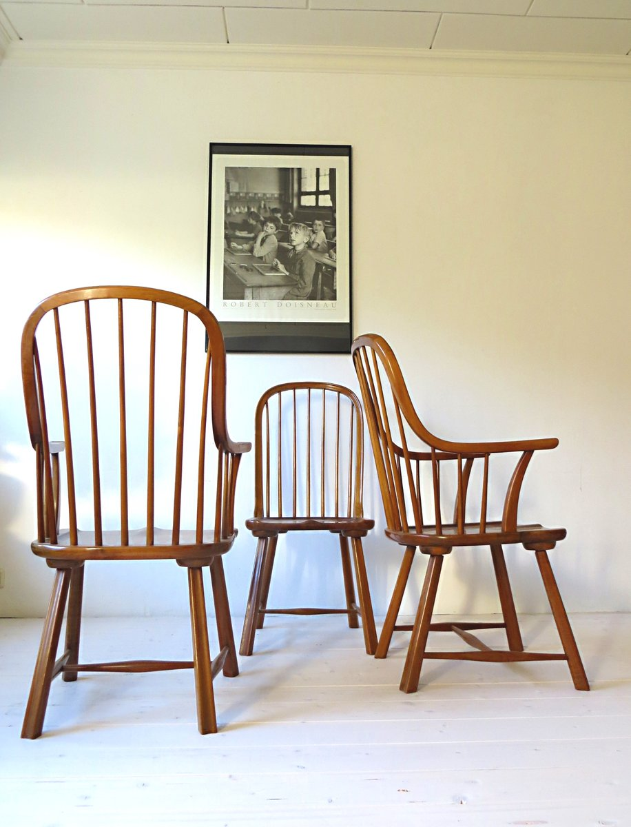 skandinavische buchenholz st hle 1950er 3er set bei