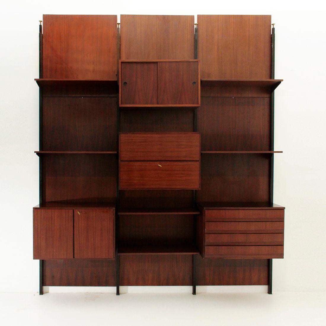 Libreria con scomparti e cassetti impiallacciata in palissandro ...
