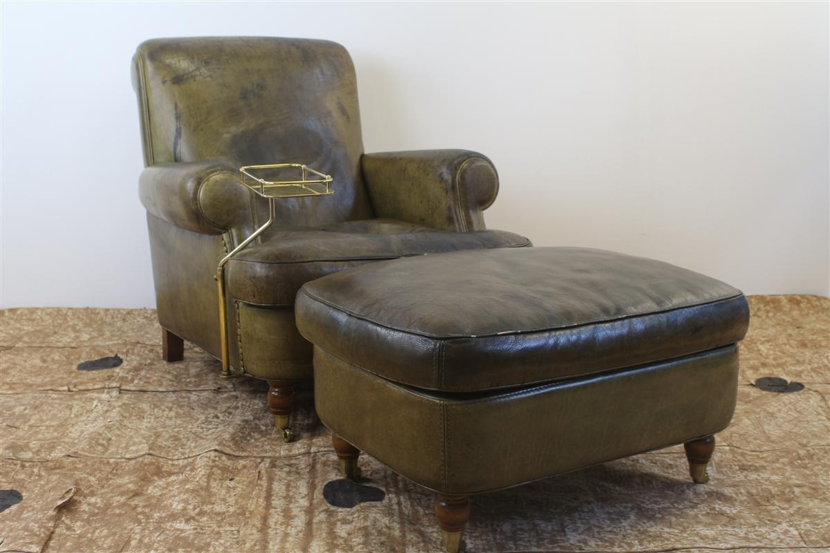 Fauteuil Club Vintage en Cuir Vert avec Pouf et Table de Fumeur par