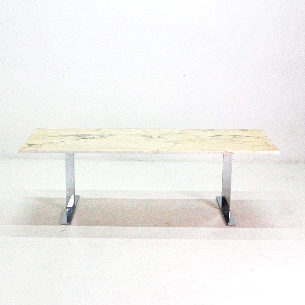 marmor couchtisch mit beinen aus chrom 1970er bei pamono. Black Bedroom Furniture Sets. Home Design Ideas