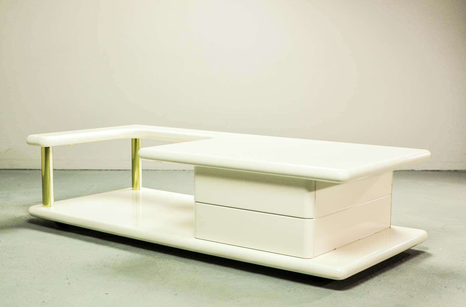 Mid Century Italian Br And White Glossy Lacquered Coffee Table