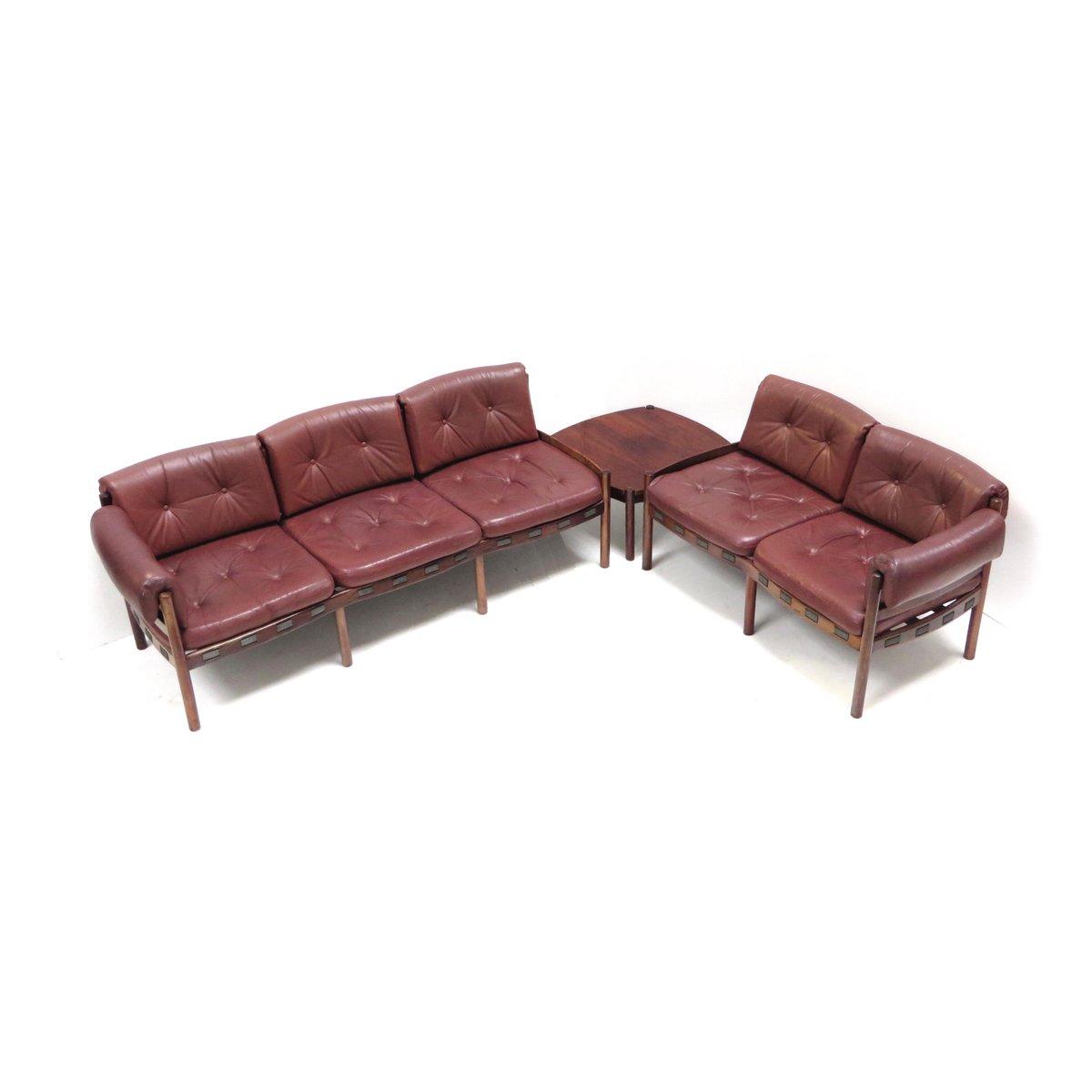 Corner Sofa Bed Sale Ireland: Leather Corner Sofa With Table, 1960s For Sale At Pamono