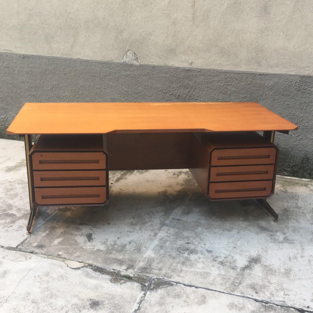 italienischer vintage schreibtisch aus holz metall bei pamono kaufen. Black Bedroom Furniture Sets. Home Design Ideas