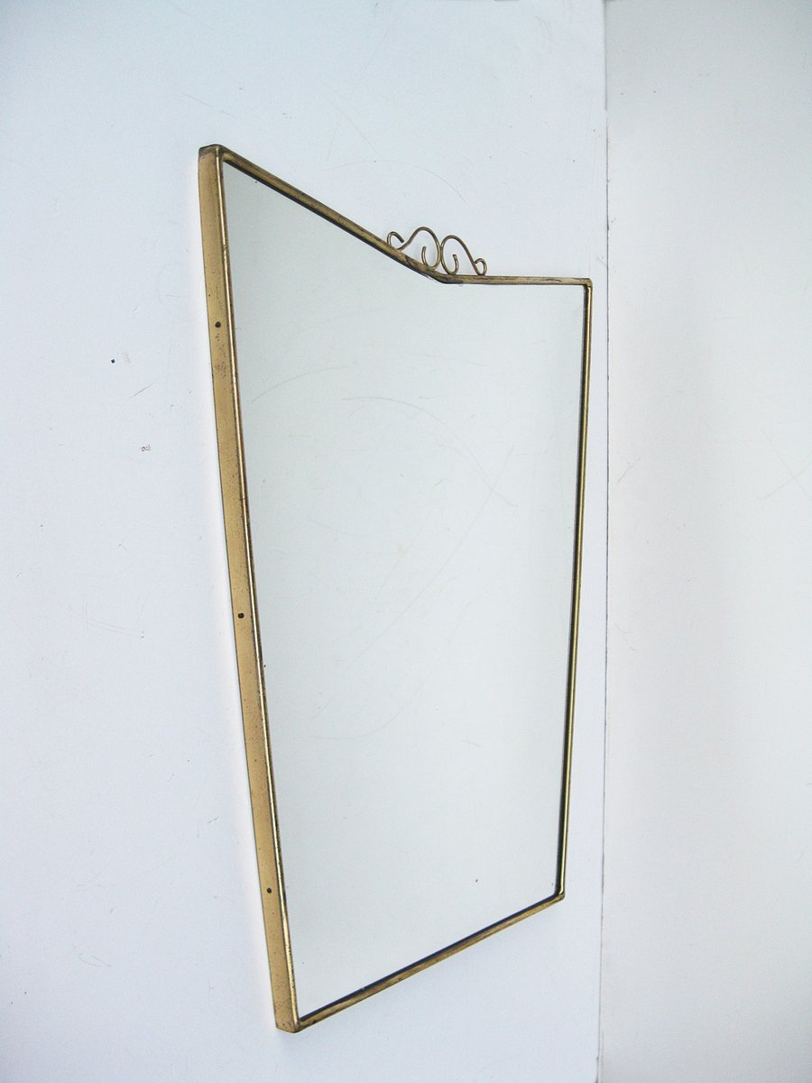 Mid-Century Italian Mirror with Brass Frame, 1950s for sale at Pamono