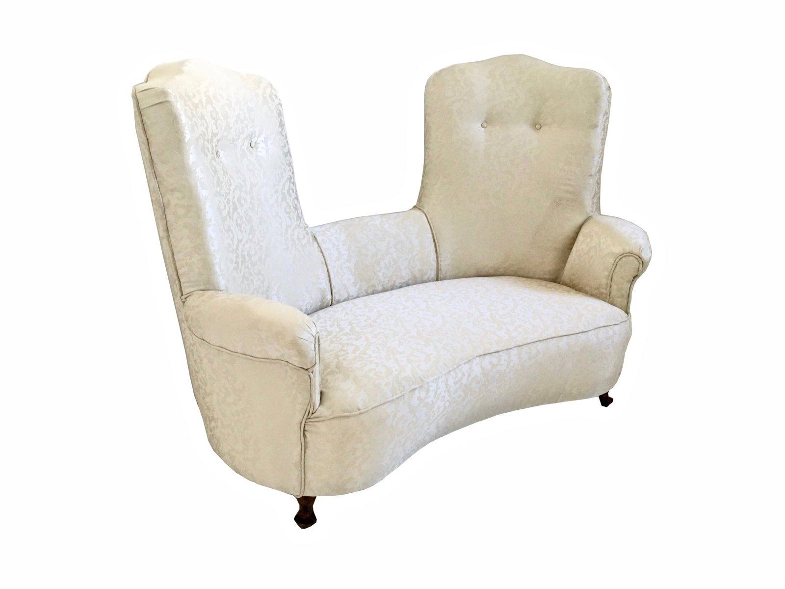 italienisches sofa aus stoff mit holzf en 1950er bei pamono kaufen. Black Bedroom Furniture Sets. Home Design Ideas