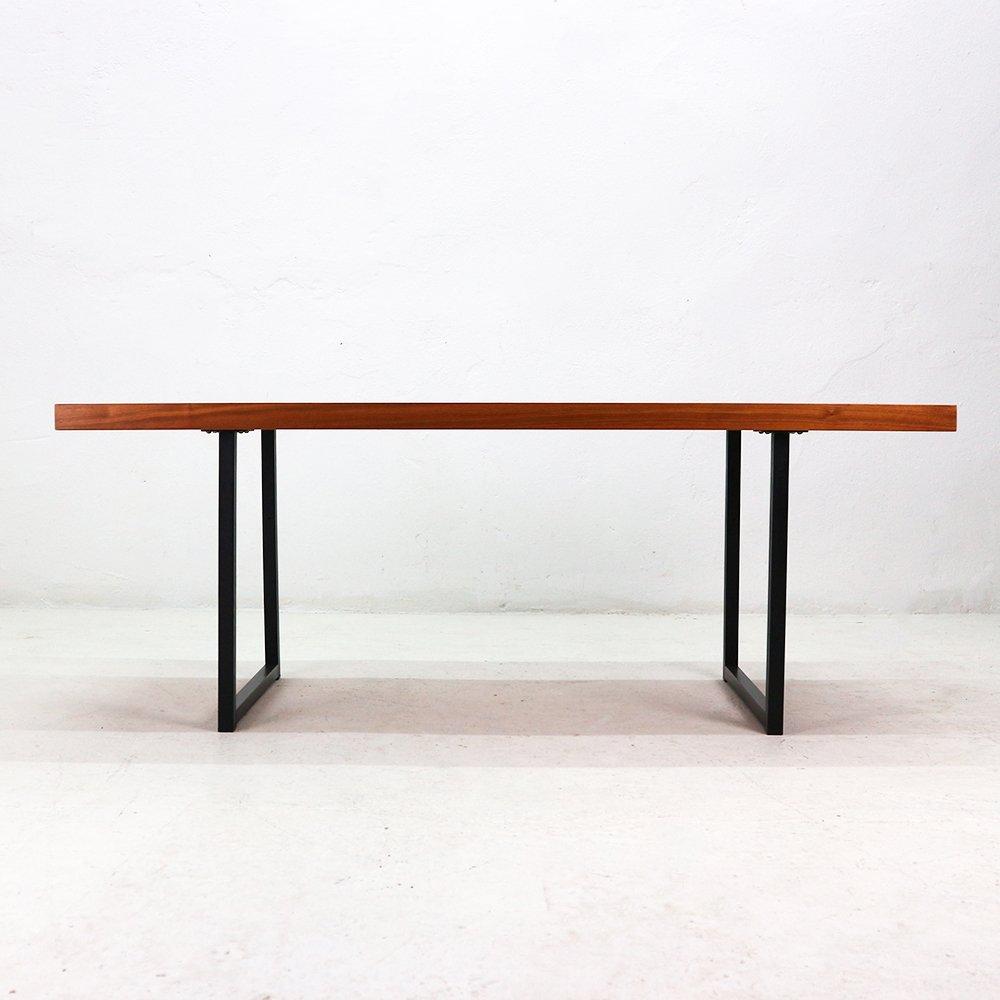 Buy Walnut And Black Metal Square Coffee Table From Fusion: Vintage Rectangular Walnut Veneered & Steel Coffee Table