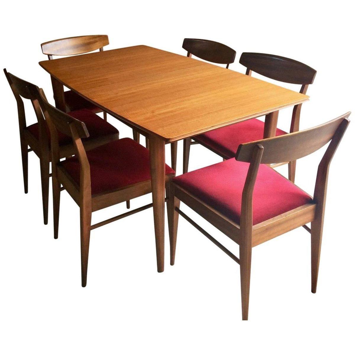 ausziehbarer tisch aus massiver eiche und 6 st hle von. Black Bedroom Furniture Sets. Home Design Ideas
