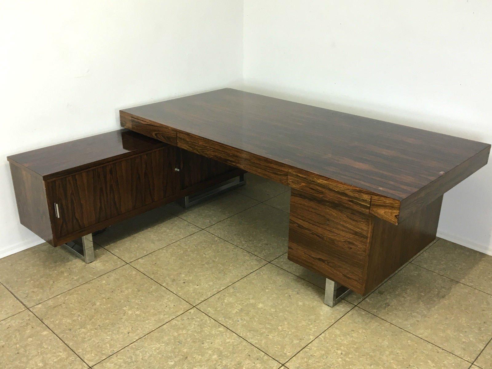 palisander schreibtisch mit sideboard 1960er bei pamono. Black Bedroom Furniture Sets. Home Design Ideas
