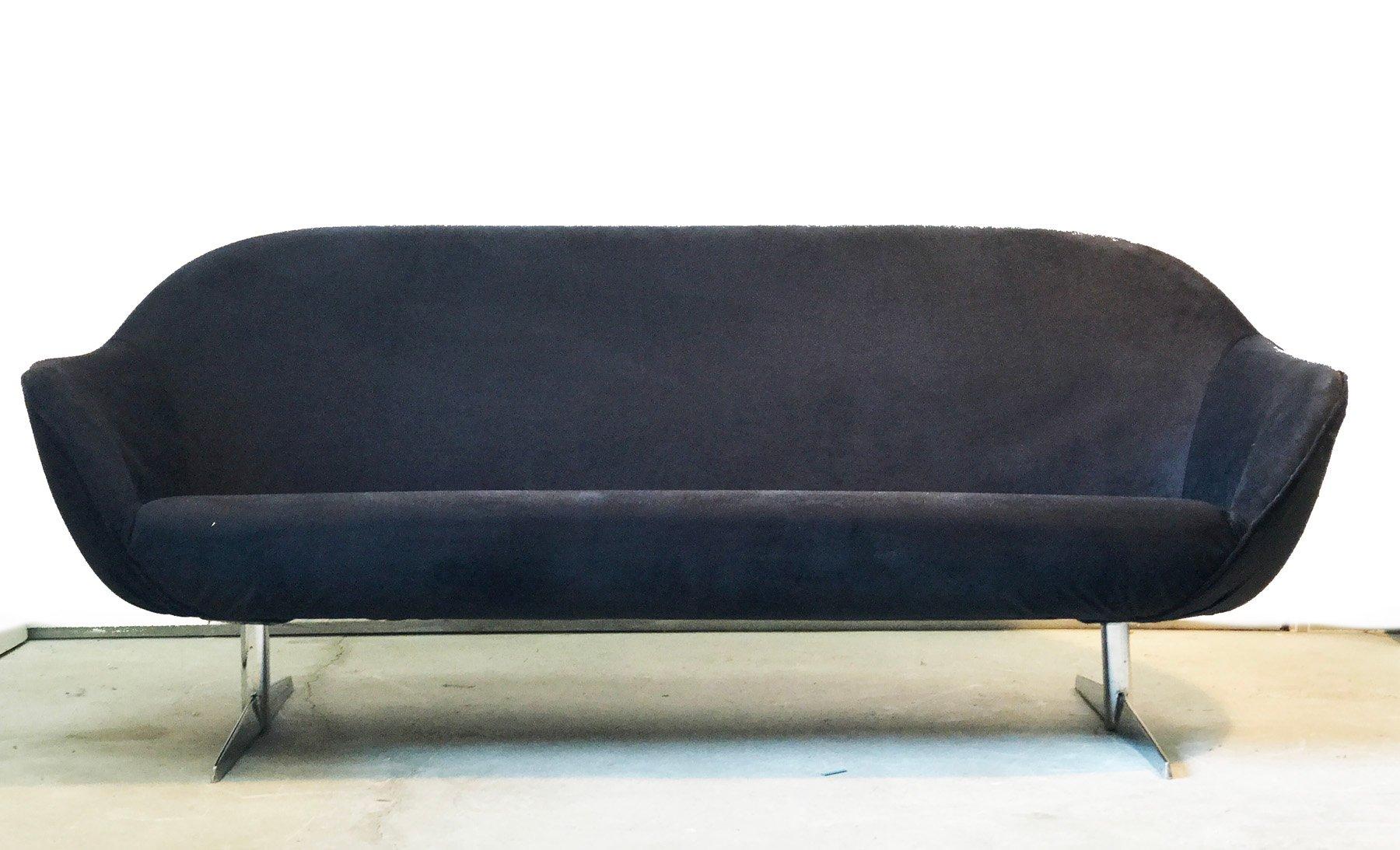 Black Velvet Sofa, 1970s