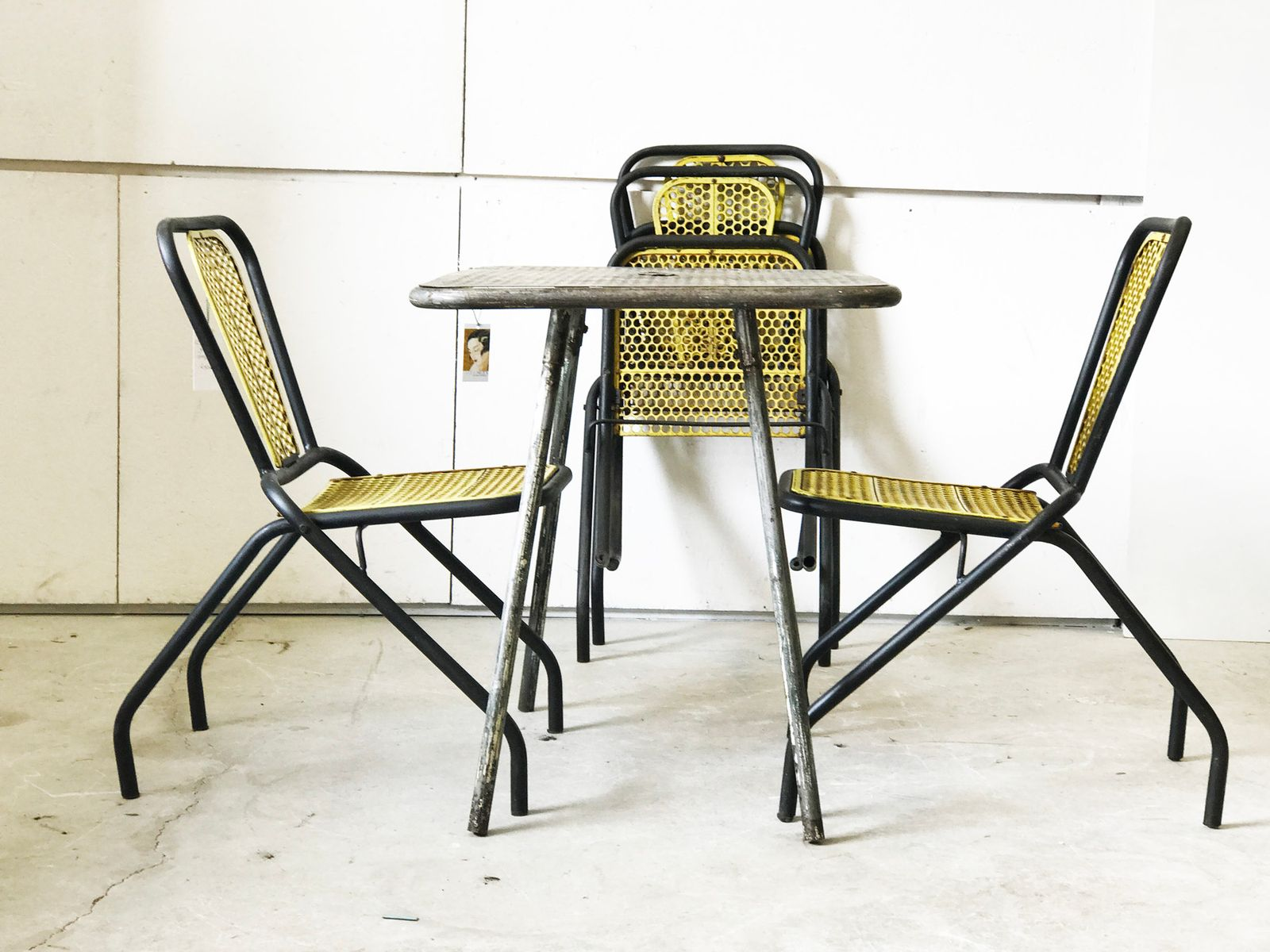 Tubular Folding Garden Chairs 1950s Set of 4 for sale at Pamono
