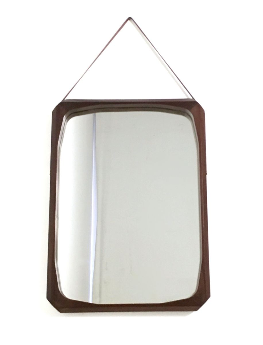 italienischer rechteckiger vintage wandspiegel mit rahmen aus mahagoni leder bei pamono kaufen. Black Bedroom Furniture Sets. Home Design Ideas