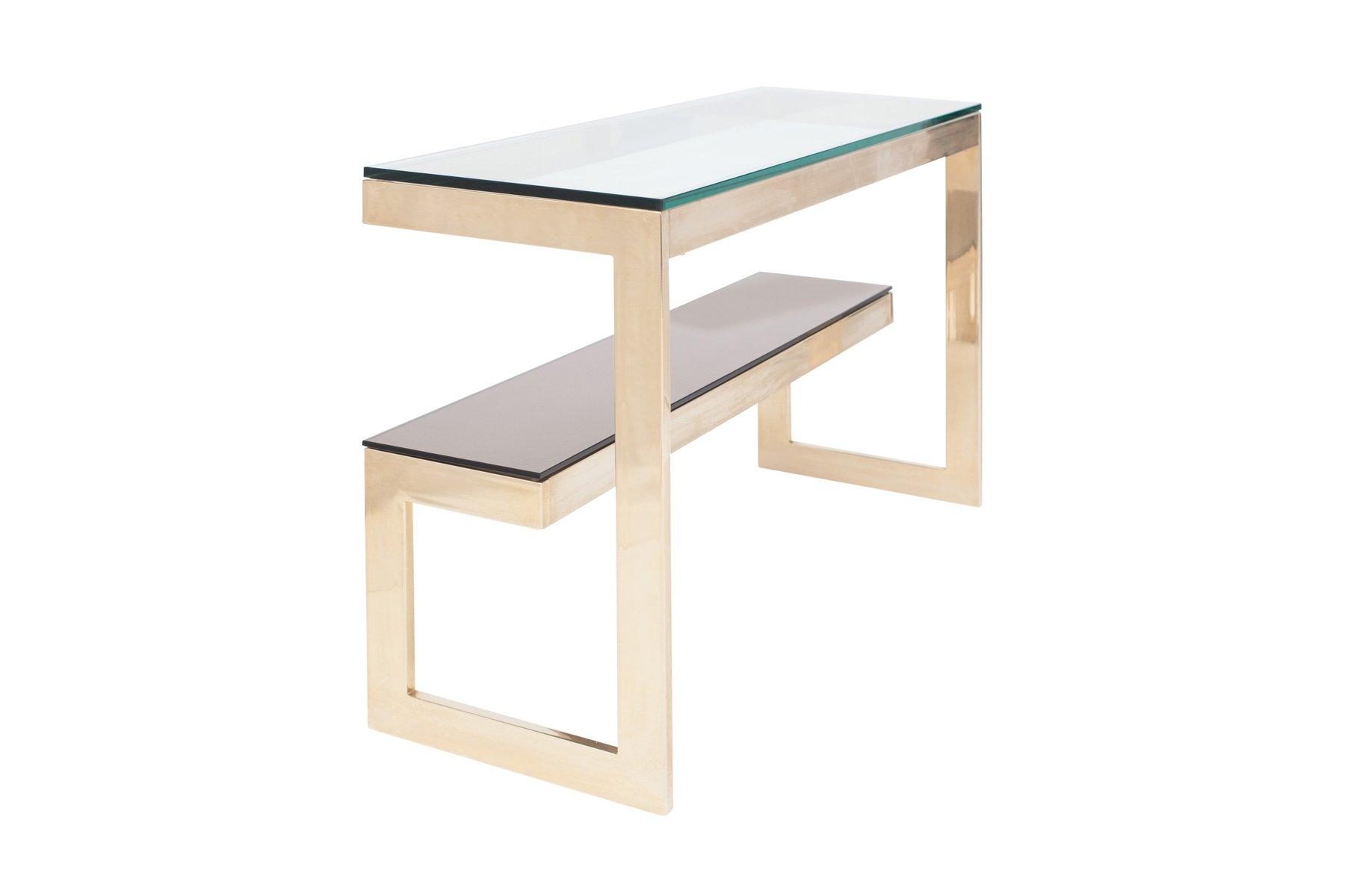 vergoldeter konsolentisch mit ablage von belgo chrom dewulf selection bei pamono kaufen. Black Bedroom Furniture Sets. Home Design Ideas