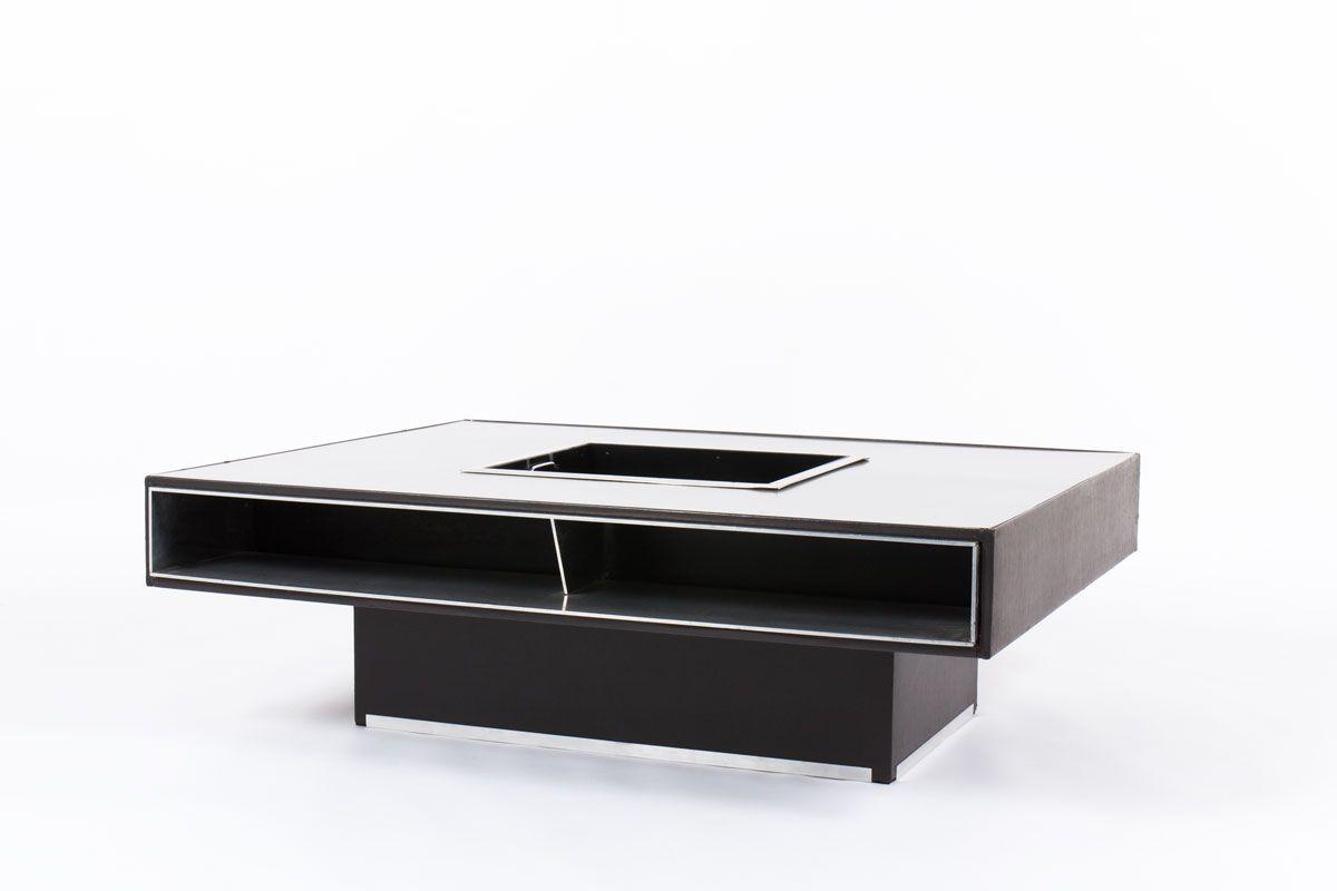aluminium couchtisch mit schwarzem kunstleder 1970er bei. Black Bedroom Furniture Sets. Home Design Ideas