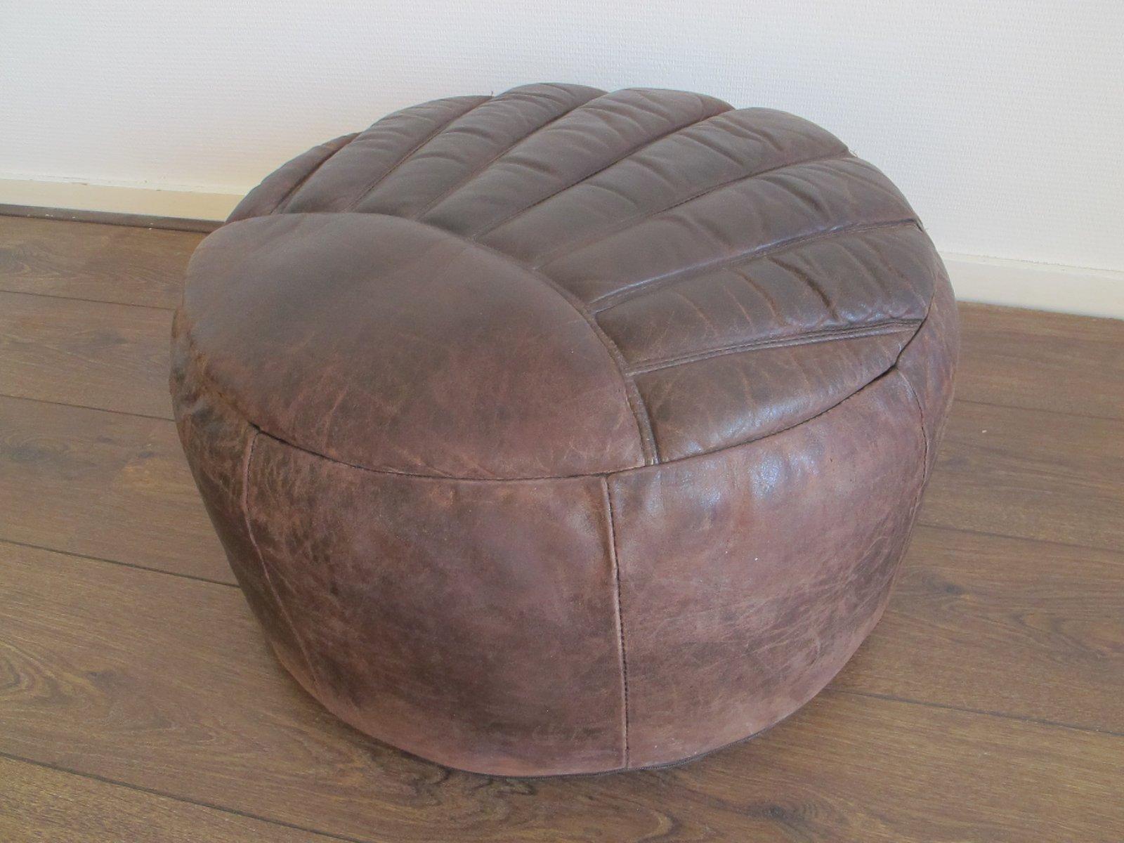 brauner vintage pouf aus leder 1960er bei pamono kaufen. Black Bedroom Furniture Sets. Home Design Ideas