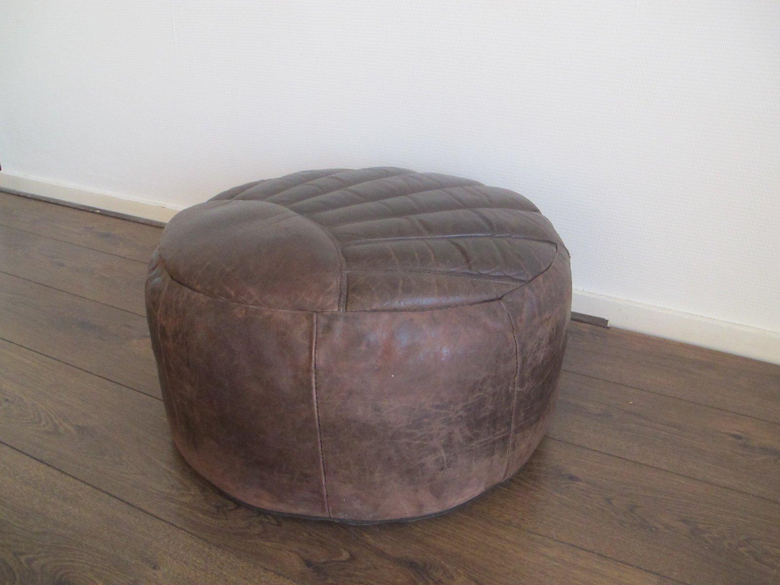 Pouf Leder brauner vintage pouf aus leder 1960er bei pamono kaufen