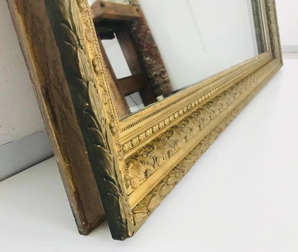 spiegel mit holzrahmen und gold einlagen 1950er bei pamono kaufen. Black Bedroom Furniture Sets. Home Design Ideas