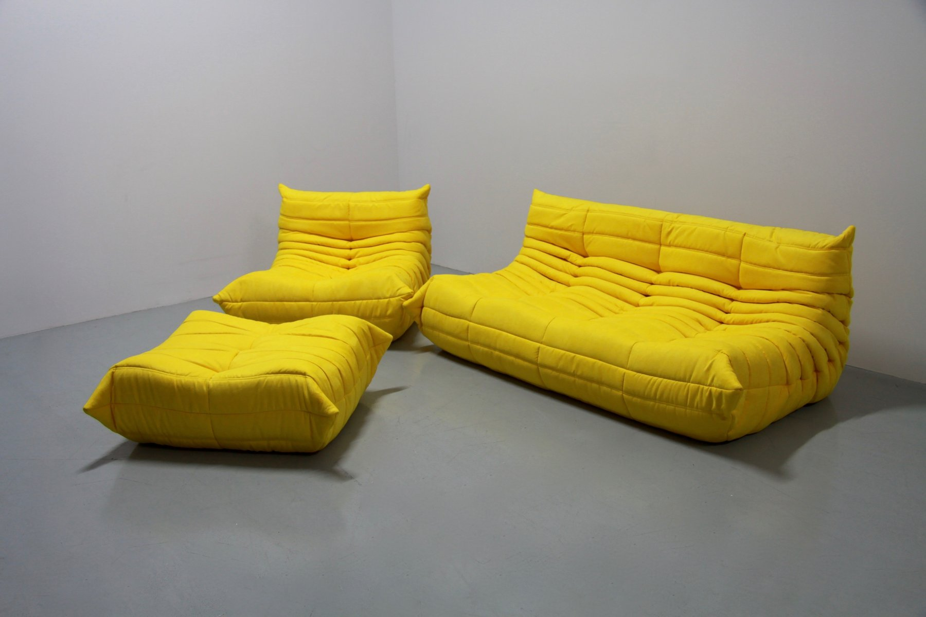 Exceptional Vintage Yellow Microfibre Togo Sofa Set By Michel Ducaroy For Ligne Roset,  1970s