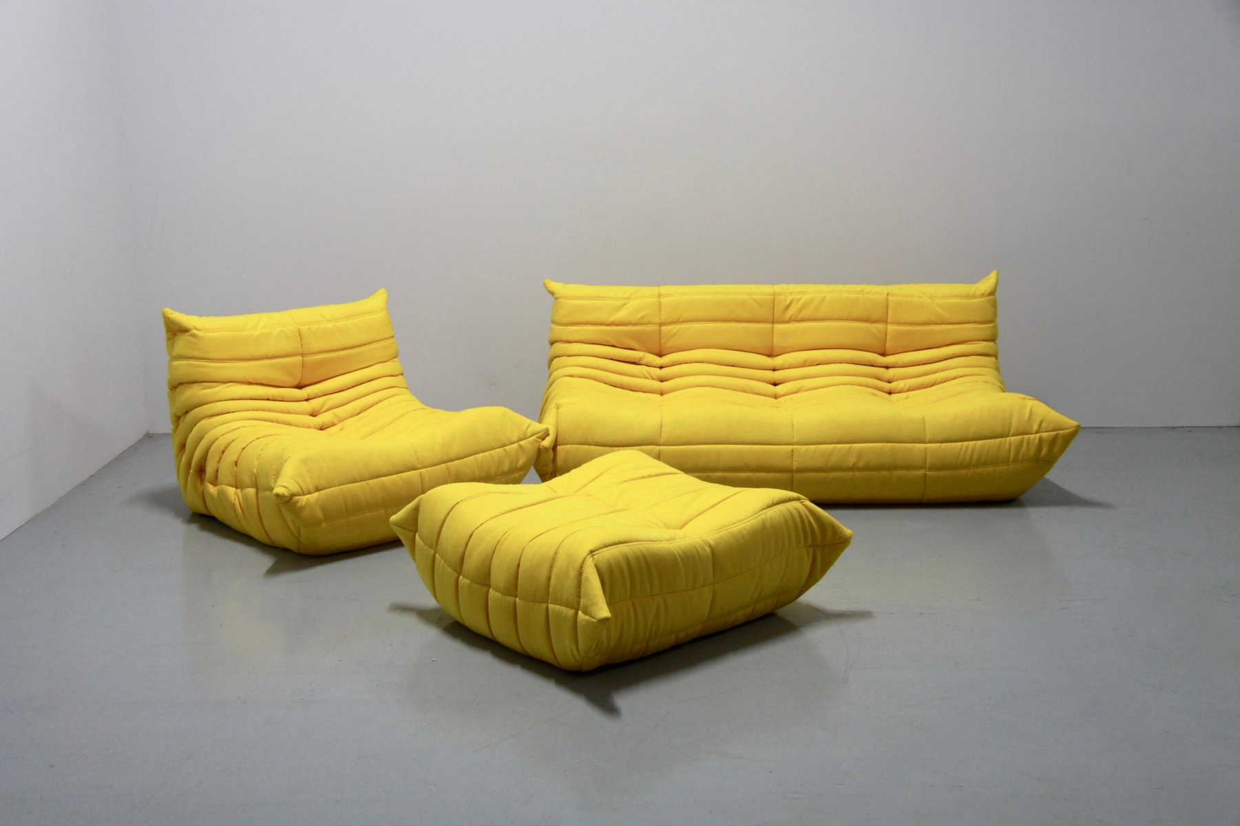 vintage yellow microfibre togo sofa set by michel ducaroy. Black Bedroom Furniture Sets. Home Design Ideas