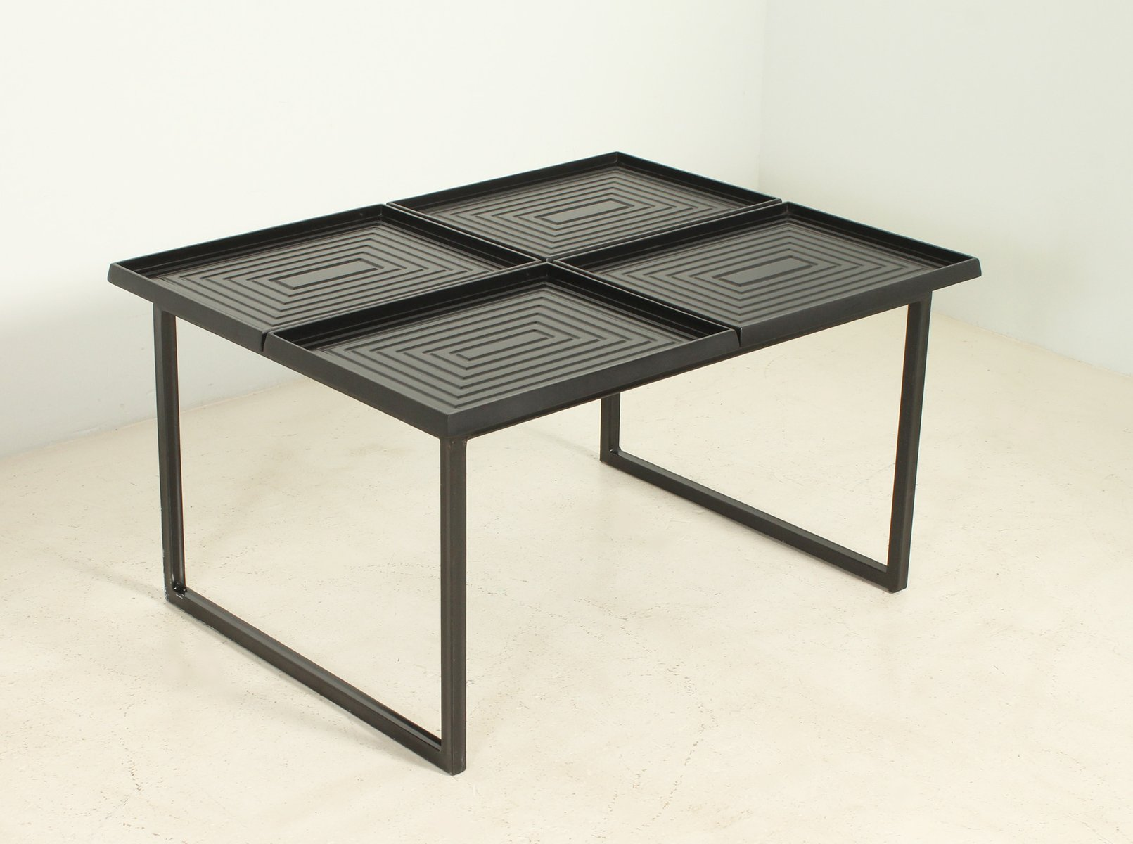 Geometric Coffee Table With Removable Trays 1980s