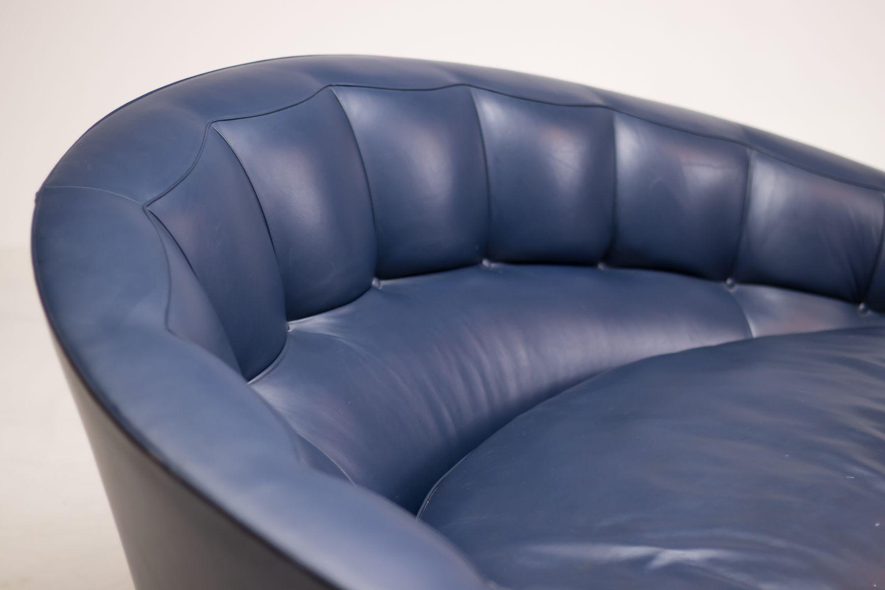 Vintage Blue Leather Aladino Living Room Set by Massimo Scolari