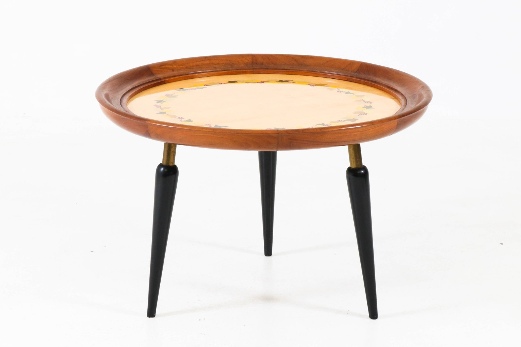 Italian MidCentury Modern Fruitwood Coffee Table with Inlay 1950s
