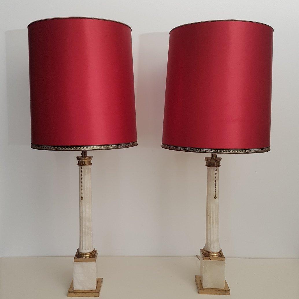 Lampade da tavolo grandi neoclassiche anni 39 60 set di 2 for Lampade piccole da tavolo
