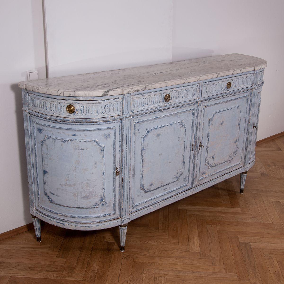 antike franz sische halbmond kommode mit carrara marmorplatte 1850er bei pamono kaufen. Black Bedroom Furniture Sets. Home Design Ideas